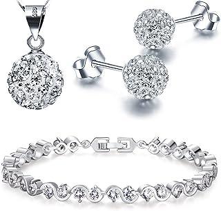 Halskette Ohrringe Anh/änger Charme Armband scrox Halskette Ohrringe Set Schmuck /österreichischen Kristall Diamant Kleidung mit Zubeh/ör