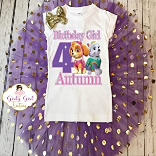 Paw Patrol Skye Everest Birthday Tutu Outfit Set- Paw Patrol Birthday Outfit for girls