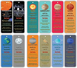 Outer Space Planets Universe Fun Facts Bookmark Cards (30-Pack) - Astronomy Sun Venus Mars Earth Moon Jupiter Saturn Uranus Neptune - Astrophysics Party Favors - Teacher Classroom Incentive Giveaways