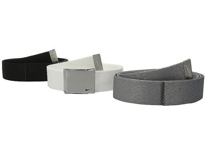 Nike  3 Web Pack (Black/White/Grey) Mens Belts