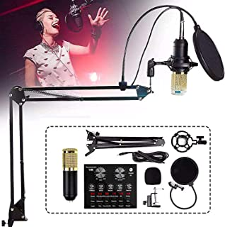 Microphone Set, Sound Card Equipment, Adjustable Microphone Suspension Metal Shock Absorber and Pop Filter, Suitable for L...