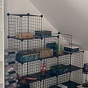 SIMPDIY /Étag/ère de rangement en treillis m/étallique 4 compartiments pour chambre denfant Noir 93 x 31 x 62 cm