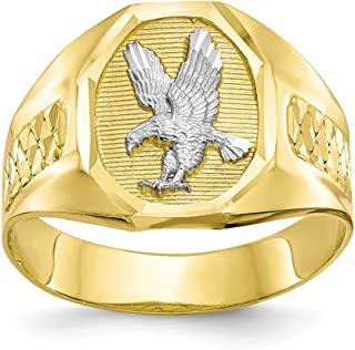 10k Yellow Gold and Rhodium Plated Men's Eagle Ring Size 10