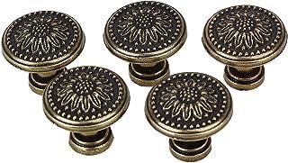 BQLZR - Tiradores de cajones o aparadores de cocina 25 x 23 mm flor en bronce envejecido 5 unidades sin tornillos