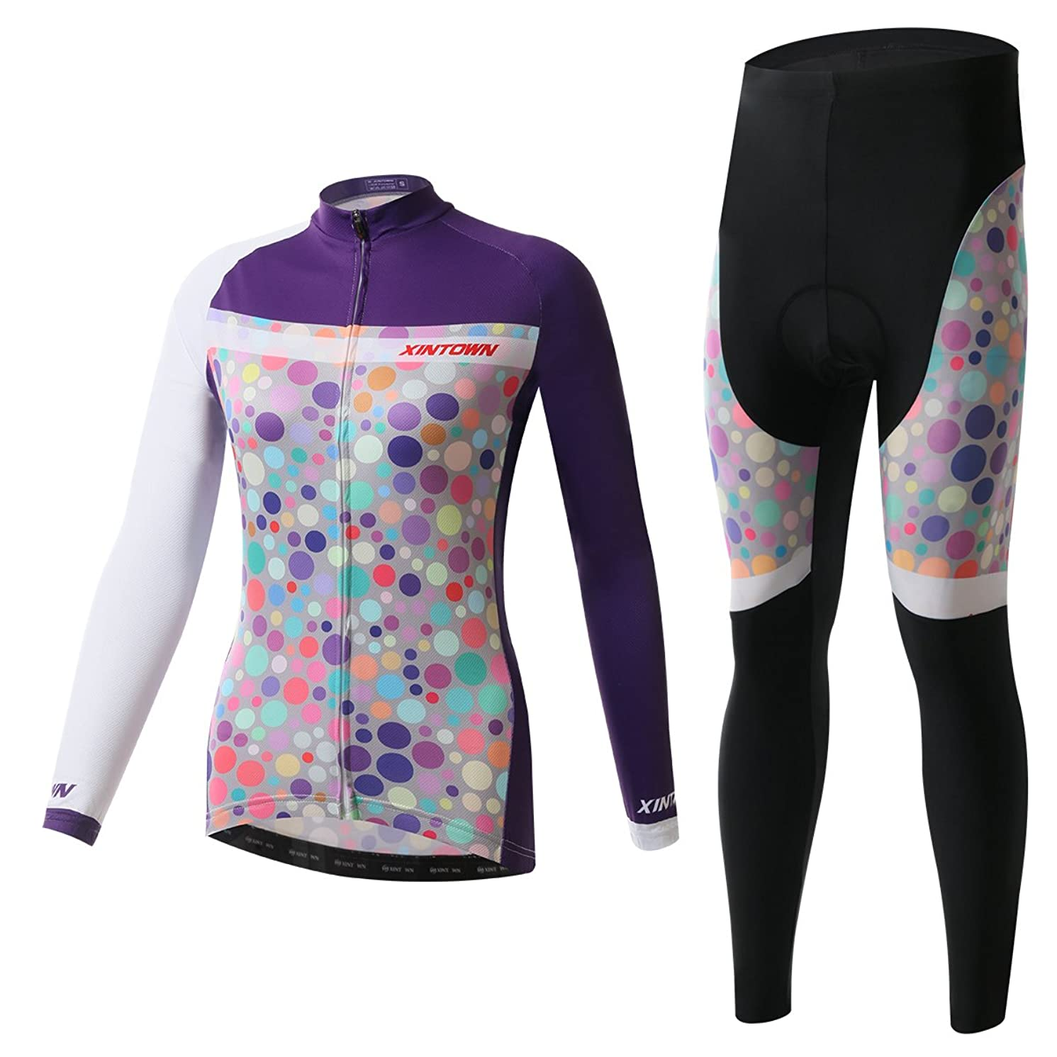 Ophelia Outdoor Purple Women's Cold Winter Fleece Long Sleeve Cycling Jersey Pants Set