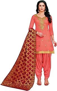 Fromal Plain Blend Silk Embroidered Salwar Kameez wtih Patiala Salwar and Banarasi Dupatta