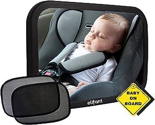 Espejo de coche bebé para asiento trasero (totalmente montado) – par de parasoles, cartel de bebé a bordo y paño de limpieza de microfibra