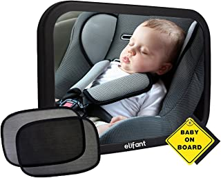 Baby Car Mirror for Back Seat (Fully Assembled) - BONUS Pair of Sunshades, Baby on Board Sign, & Microfiber Cleaning Cloth - LIFETIME WARRANTY