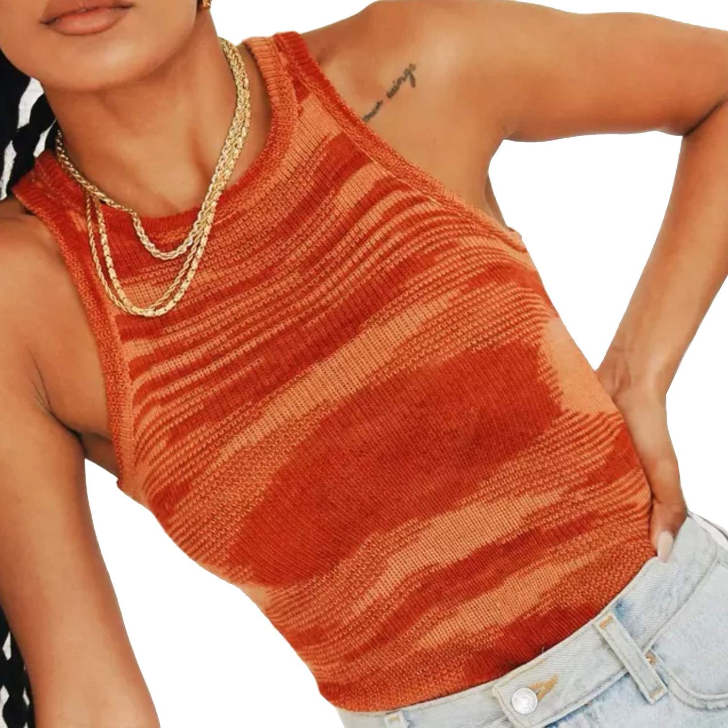 Dwnval Y2K Knit Crop Top for Women Sleeveless Off Shoulder Cami Basic Cropped Casual Crewneck Racerback Slim Tank Tops