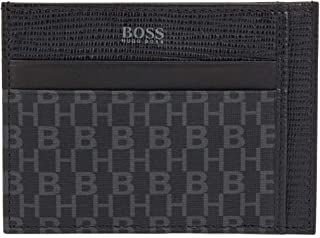 BOSS Mens Metropole H S card N Leather-trimmed card holder in monogrammed Italian fabric