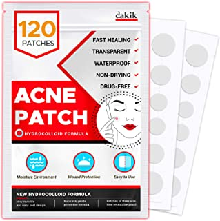 Acne Pimple Healing Patch � Invisible Facial Stickers with Hydrocolloid, Absorbing Cover for Skin Treatment, Blemishes, Black and White Spots, Three Sizes, Blends in with skin (120 Patches)