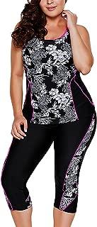 Women's Plus Size Floral Capris Bottom Tankini Two Piece Swimsuits L-5XL