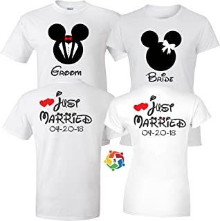 Just Married Groom & Bride Wedding Valentine's Love Couples Cute Matching Shirts