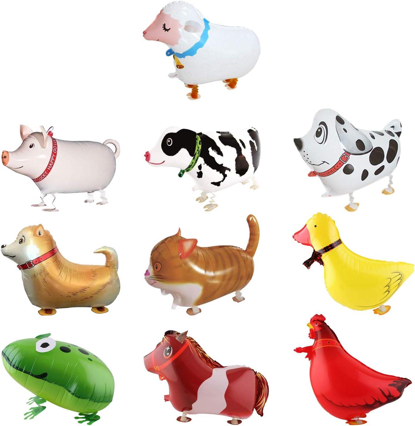 SOTOGO 10 Pieces Walking Animal Balloons Farm Animal Balloon Bir