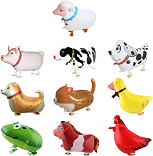 SOTOGO 10 Pieces Walking Animal Balloons Farm Animal Balloon Birthday Party BBQ Party Décor(Pony,Duck,Rooster,Cow,Pig,Shee...