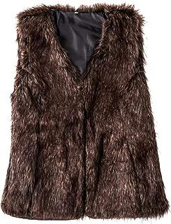 SUNDAY ROSE Women's Faux Fur Vest Warm Sleeveless Jacket Gilet with Pockets