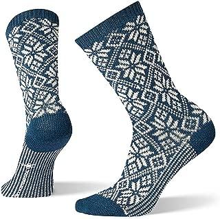 Traditional Snowflake Crew Socks - Women's Medium Cushioned Merino Wool Performance Socks