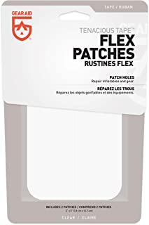 "Gear Aid Tenacious Tape Flex Patches for Vinyl and Fabric Repair, Clear, Two 3"" x 5"" Patches"