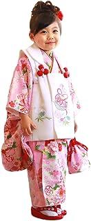 【鈴2/ピンク地に鼓と流れ桜/白】 七五三 着物 3歳 女の子 被布着物 フルコーディネート10点セット