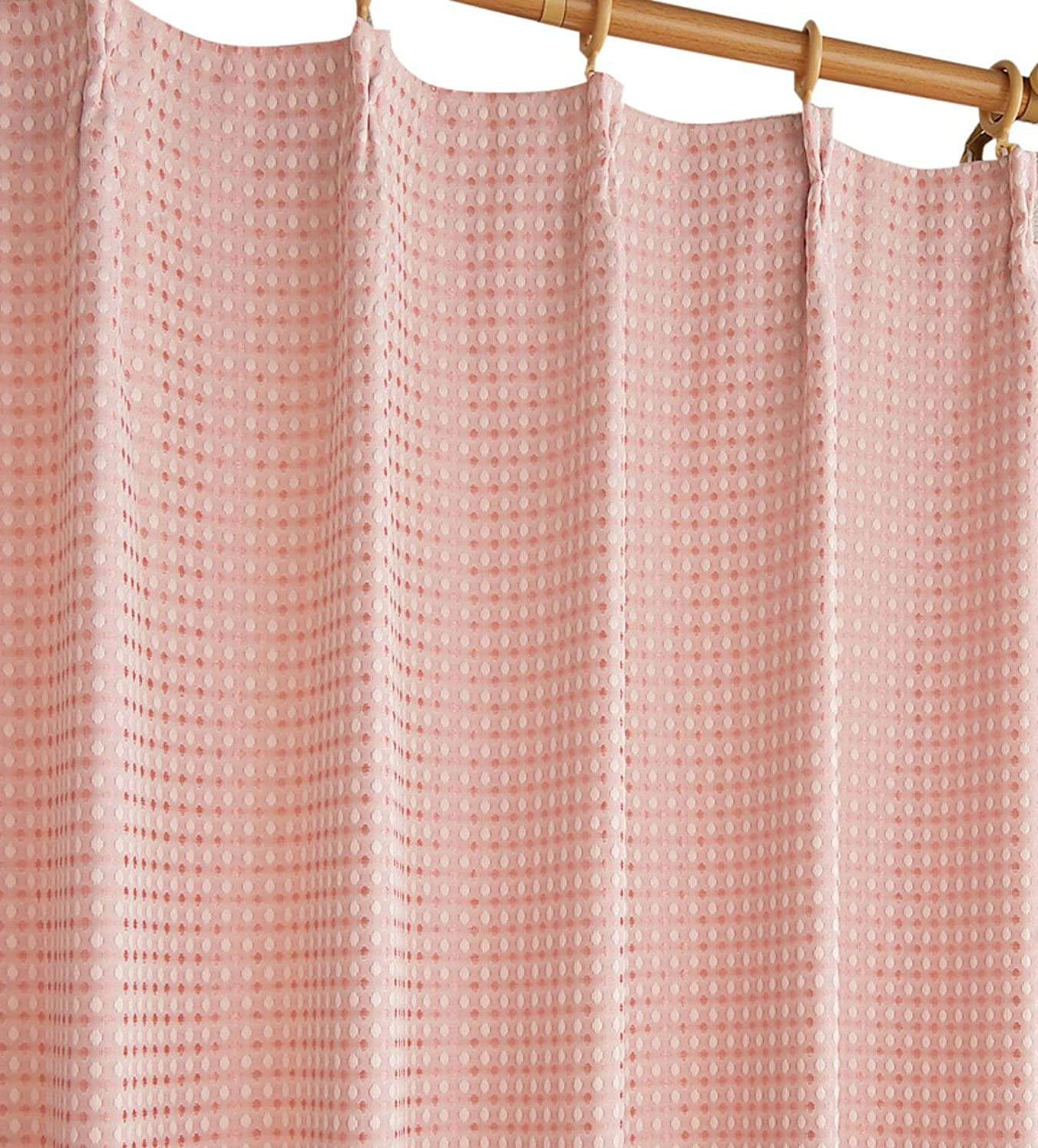 退院食用ラショナルセシール ワッフルカーテン ピンク 100×200cm 遮光 裏地付き CP-479 2枚入入
