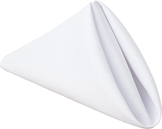 Gee Di Moda Cloth Napkins - 17 x 17 Inch White Solid Washable Polyester Dinner Napkins - Set of 12 Napkins with Hemmed Edges - Great for Weddings