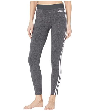adidas Essential 3-Stripes Long Tights (Dark Grey Heather/Purple Tint) Women