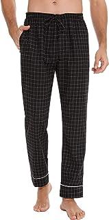 Aiboria Men's Cotton Plaid Pajama Pants Lounge Sleep PJ Bottoms Drawstring Elastic Waistband
