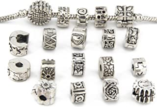 Yeshan Antique Silver Clip Lock Bead Charms with Rubber Stopper O-Rings