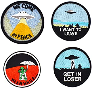 Riao-Tech 4pcs Alien UFO Patches Sew On Iron On Patch Set Big-Size Applique Patches for Clothing, Jackets, Backpacks, Shoes, Hats