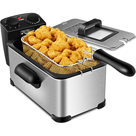 COSTWAY Deep Fryer, 1700W Electric Stainless Steel Deep Fryer -3.2qt Oil Container & Lid w/ View Window, 12 Cups Frying Basket w/ Hook, Adjustable Temperature and Timer, Professional Grade