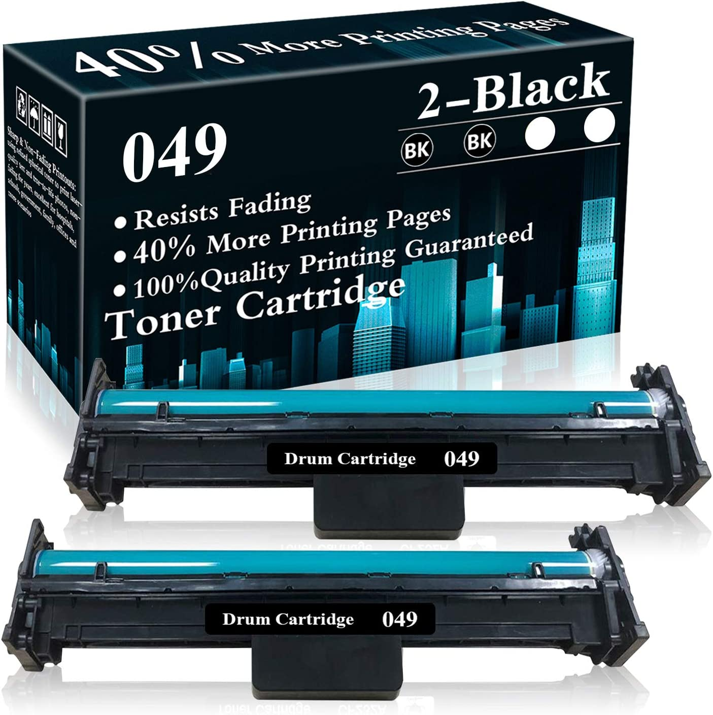 2 Pack 049 Black Drum Unit Replacement for Canon ImageCLASS MF113W LBP113W MF110/LBP110 Series i-SENSYS MF113W LBP113W MF110/LBP110 Series Printer,Sold by TopInk