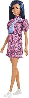 Barbie Fashionistas poupée mannequin #143 aux cheveux bleus avec une robe rose et noire, jouet pour enfant, GXY99