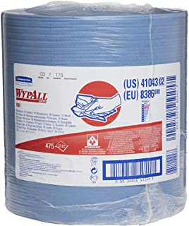 WypAll 41043 X80 Wipers with HYDROKNIT, Jumbo Roll, 12 1/2 x 13 2/5, Blue, 475 Wipers Per Roll