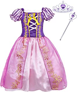 Jurebecia Princess Long Hair Costume for Girls Princess Birthday Party Dress up Outfit 1-10 Years