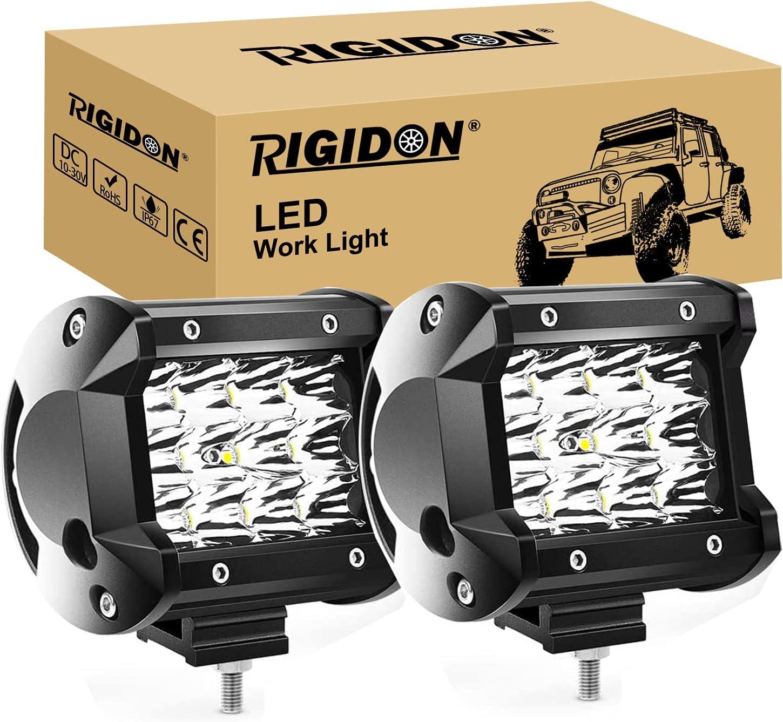 RIGIDON 2 Pcs Faros Trabajo led, 4 Pulgadas 36W, Spot Beam lámpara Trabajo led para Off Road camión Coche ATV SUV 4x4 Tractor, lámpara de conducción 6000K Blanco, Foco led 12v 24v Spotlights
