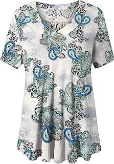 Women's Plus Size Short Sleeve V Neck Swing Floral Tunic...