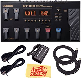 Boss GT-100 Amp Effects Processor Pedal Bundle with Power Supply, Tuner, Instrument Cables, MIDI Cables, and Austin Bazaar Polishing Cloth