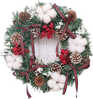 干的コットン花 リース 松ぼっくり 果実リース クリスマス花輪 30CM 庭園 感謝祭 ハロウィン 飾り