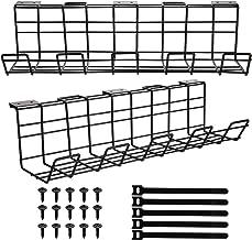 Hedume 2 Pack Under Desk Cable Management Tray, Cable Organizer for Wire Management, Wire Organizer for Cable Management, ...