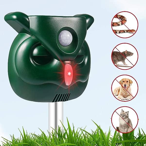 PETBROO Dog Cat Repellent Ultrasonic Pest Repellent With Motion Sensor And Flashing Lights Outdoor Solar Powered Waterproof Farm Garden Yard Repellent Cats Dogs Foxes Birds Skunks Rod