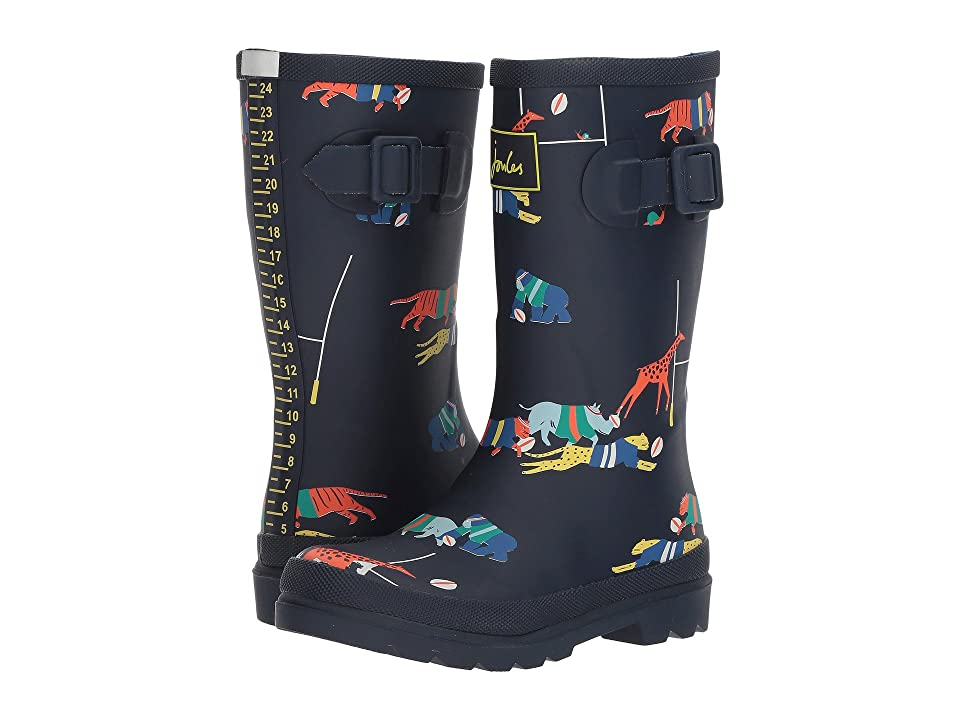 Joules Kids Printed Welly Rain Boot (Toddler/Little Kid/Big Kid) (Navy Jungle Scrum) Boys Shoes