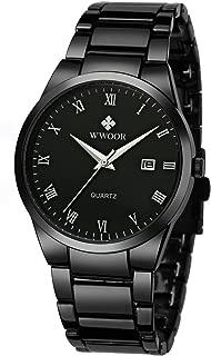 Wwoor Men's Quartz Date Watches Stainless Steel Strap Black