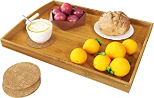 BAMEOS Serving Tray with Handle Bamboo Bed Tray with Two Coasters Food Couch Tray Works for Eating,Working,Storing,Décor, Used in Bedroom, Kitchen, Living Room, Bathroom, (16.9x12.99x1.96inches)