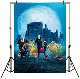 Cartoons Background for Photography 5x7ft Haunted Castle Large Moon Hotel Transylvania Themed Backdrop for Birthday Parties Vinyl Backdrops for Kids Photoshoot
