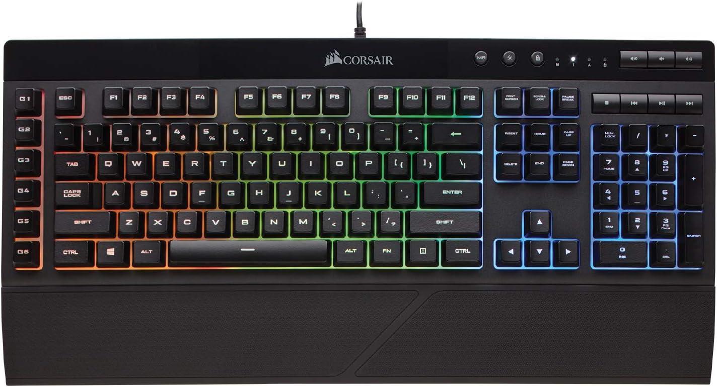 Corsair K55 RGB Gaming Keyboard – IP42 Dust and Water Resistance – 6 Programmable Macro Keys – Dedicated Media Keys - Detachable Palm Rest Included (CH-9206015-NA) , Black