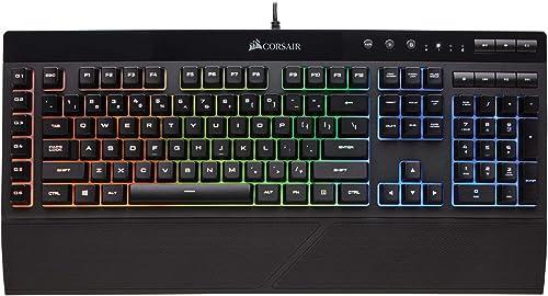 Corsair K55 RGB Gaming Keyboard – IP42 Dust and Water Resistance – 6 Programmable Macro Keys – Dedicated Media Keys -...
