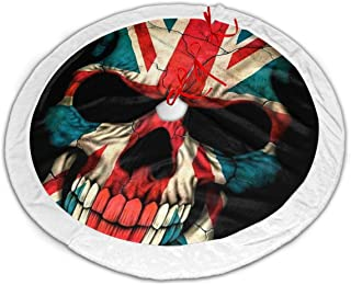 FriendEver British Flag Skull Christmas Tree Skirt Plush Border for Christmas Decorations, Holiday Decorations, Indoor and Outdoor Home Decor Gifts (36 Inches)