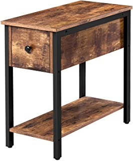 HOOBRO Side Table, 2-Tier Nightstand with Drawer, Narrow End Table for Small Spaces, Stable and Sturdy Construction, Wood ...