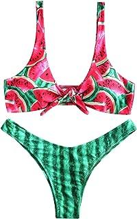 ZAFUL Womens Watermelon Low Cut Front Knot Padded Bikini