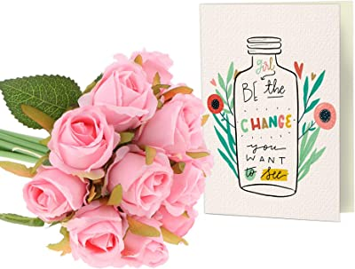 TIED RIBBONS Womens Day for Friend, Employees, Women, Mother, Wife(Faux Rose Bunch and Printed Greeting Card)
